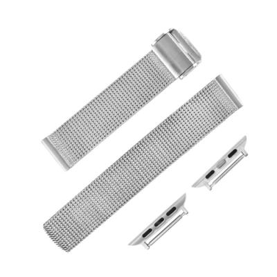 Apple Watch / 蘋果手錶替用錶帶 輕便透亮 穿壓扣 米蘭編織不鏽鋼錶帶 銀色