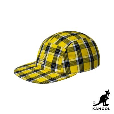 KANGOL-5 PANEL 格紋棒球帽-黃色
