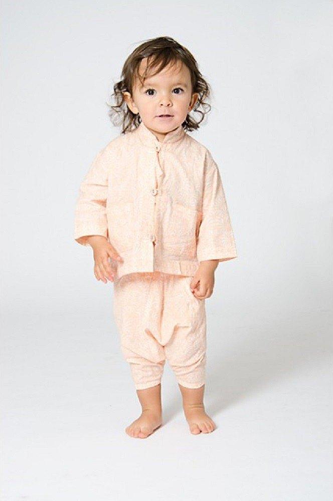 【北歐童裝】瑞典有機棉遮陽上衣2歲至8歲 綠/粉橘
