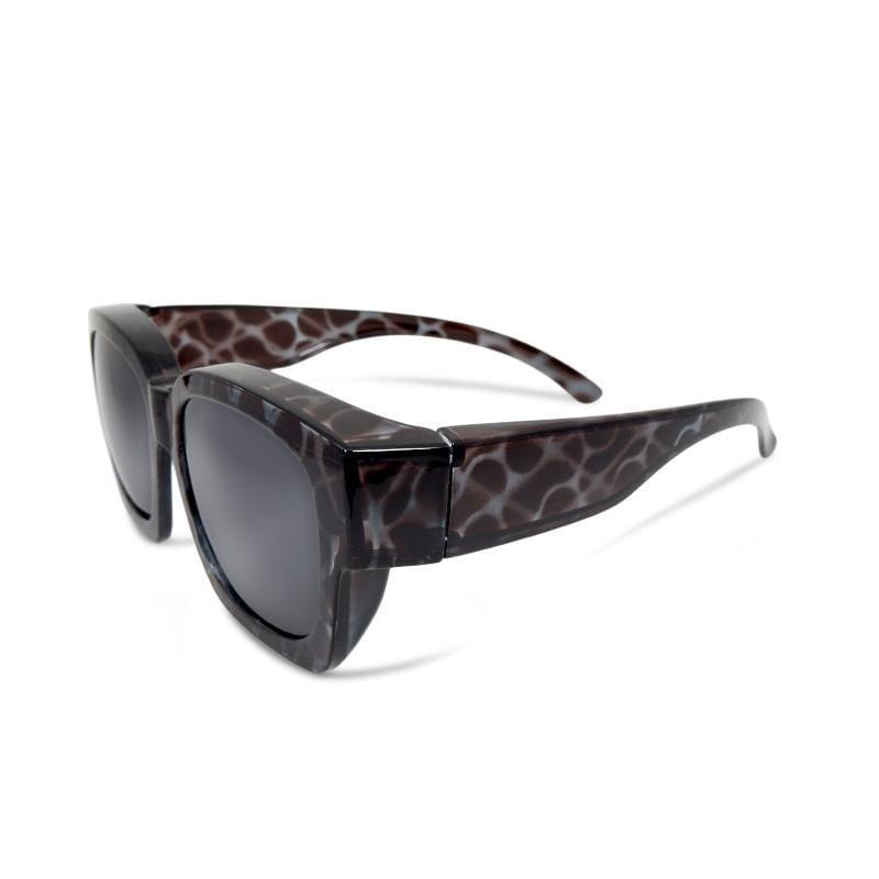 海湧凝灰│全罩式│外掛式│藍灰色豹紋方框包覆式偏光太陽眼鏡│UV400墨鏡 藍灰色豹紋