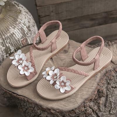 KEITH-WILL時尚鞋館 獨家價美型美腿三朵花平底涼鞋-粉