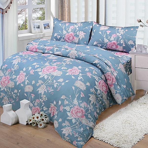 FITNESS  雙人四件式兩用被床包組 粉妝輕抹 藍灰