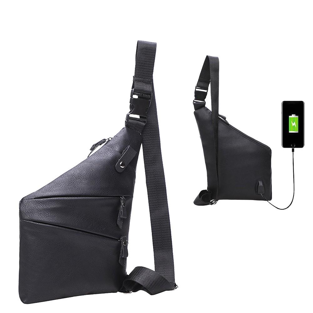WENJIE【B530】新款創意防水男士胸包 USB充電貼身防盜PU槍包 時尚斜挎包