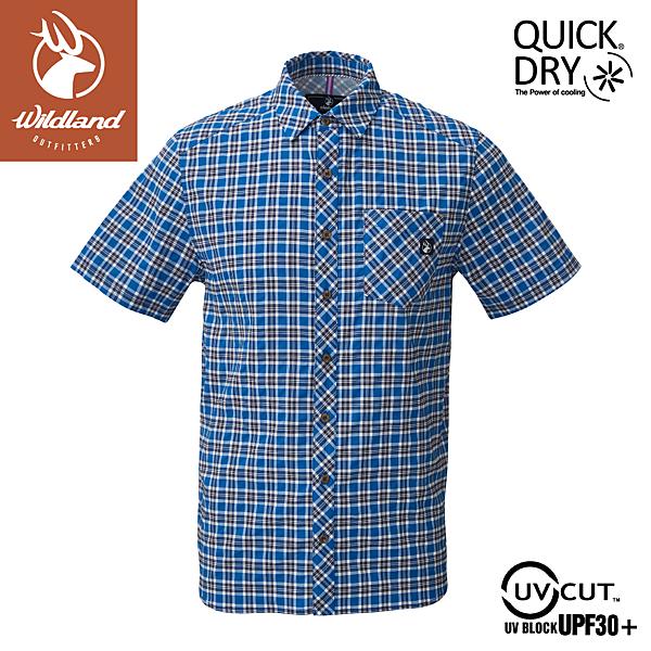 【Wildland 荒野 男 彈性抗UV格子短袖襯衫《深藍》】0A81206/POLO衫/運動衣/休閒衫
