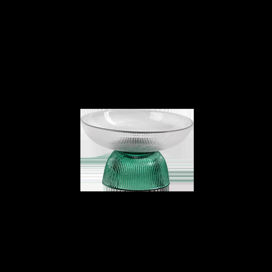北歐條紋玻璃水果盤(透綠)