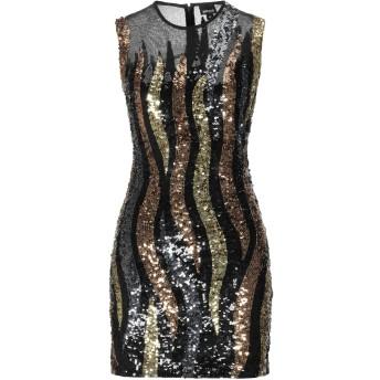 《セール開催中》JUST CAVALLI レディース ミニワンピース&ドレス ブラック 36 ポリエステル 100% / プラスティック / ガラス