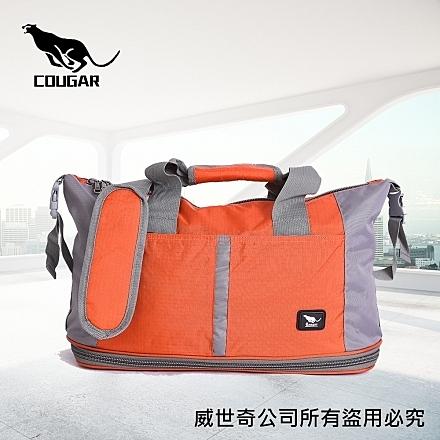 【Cougar】可加大 可掛行李箱 旅行袋/手提袋/側背袋(7037橘色)【威奇包仔通】