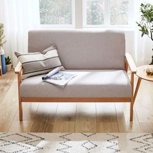 林氏木業北歐櫸木雙人布沙發 LS188-灰色