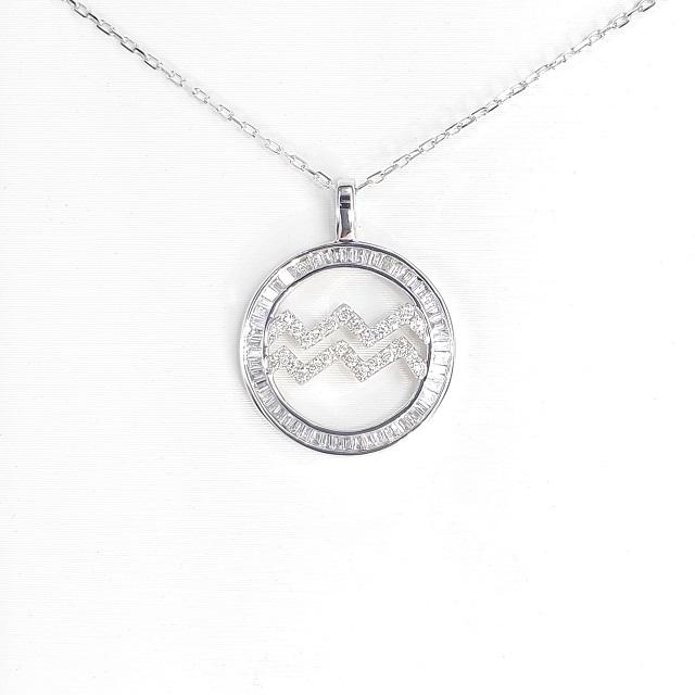 【光彩珠寶】18K金十二星座鑽石項鍊-水瓶座
