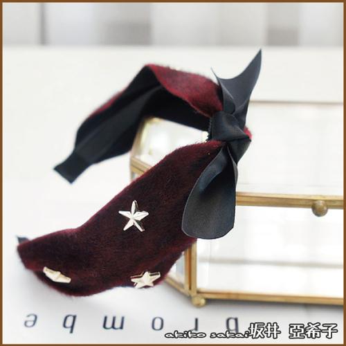 『坂井.亞希子』時尚蝴蝶結五角星造型毛絨髮箍