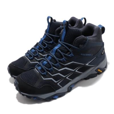 Merrell 戶外鞋 Moab FST 2 MID GTX 男鞋 登山 越野 中筒 耐磨 黃金大底 防潑水 藍 黑 ML034209