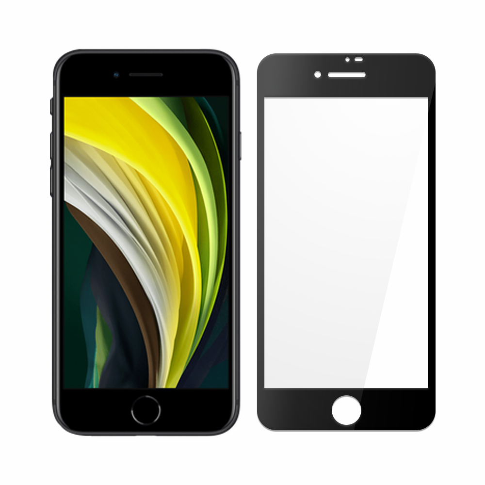 ANANK iPhone SE (第二代)/iPhone SE2/7/8 2.5D 9H 鋼化日規玻璃保護貼-黑色