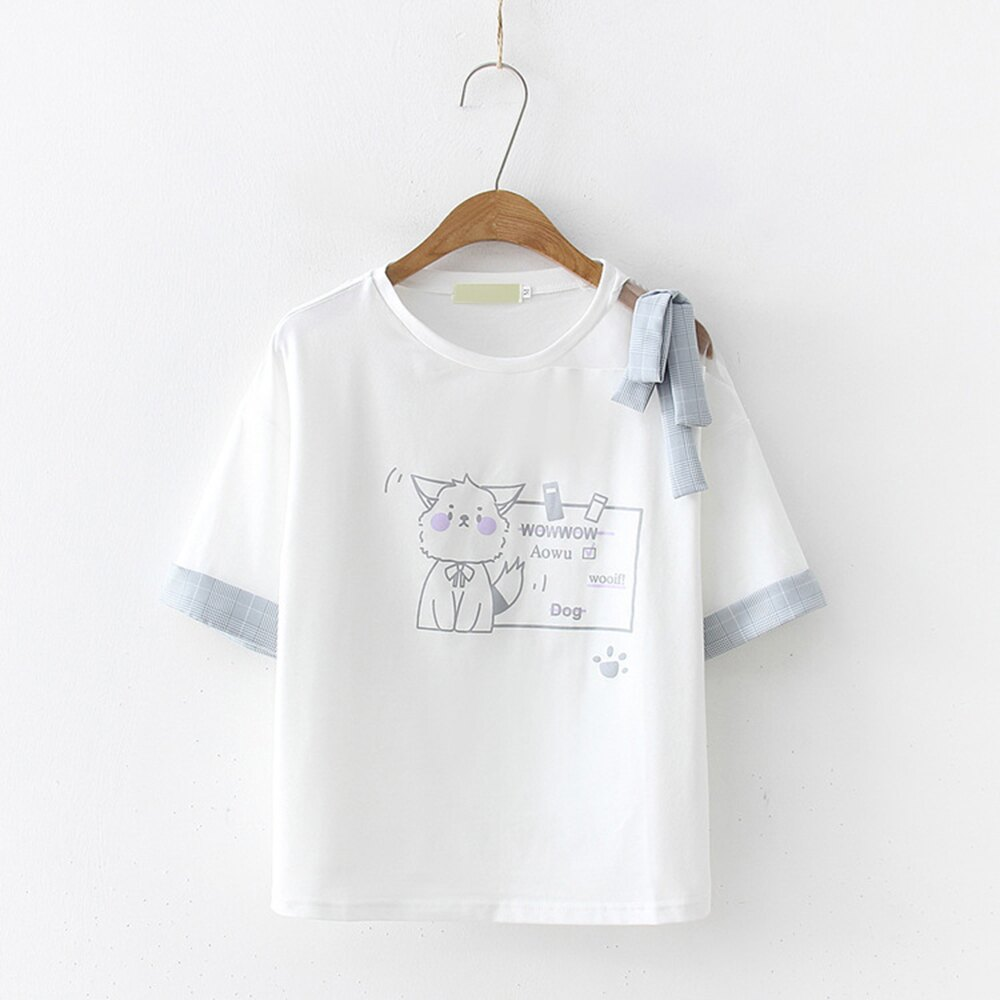 日系森女卡通貓印花短袖T恤上衣(白色F碼)*ORead*