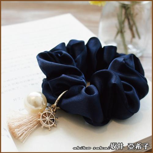 『坂井.亞希子』海洋風船舵珍珠墜飾流蘇髮圈