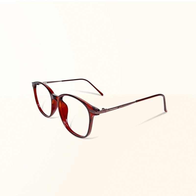 京都的鳶色林蔭│ 日系基本款輕量造型摩卡棕TR90輕量方框金屬鏡腳UV400濾藍光眼鏡 湖水藍