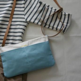 帆布 5ポケットショルダー / サコッシュ / バッグインバッグ (color: turquoiseblue)