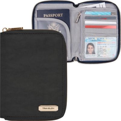 《TRAVELON》對開拉鍊護照包(素黑)