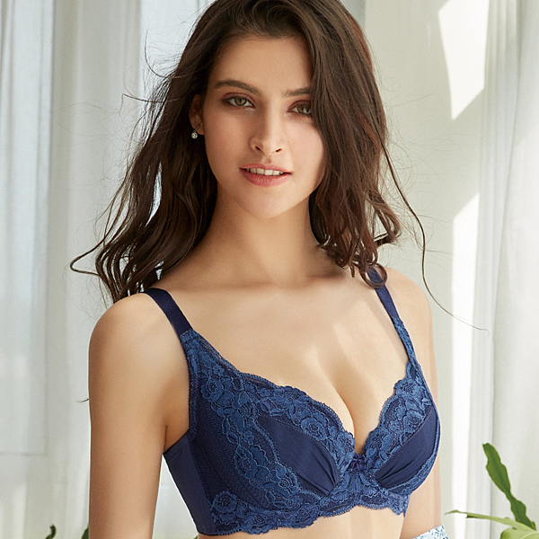 EASY SHOP-魅惑Beauty Bra 大罩杯C-E罩內衣(藏青藍)