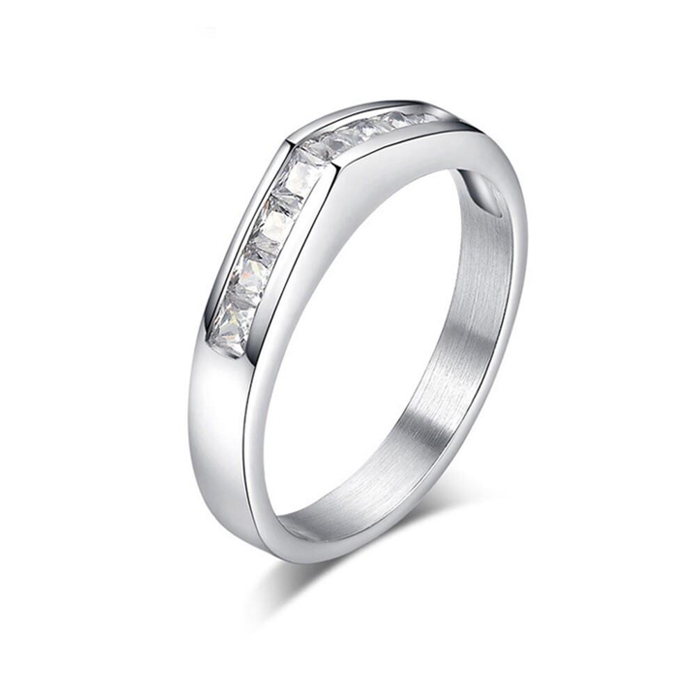 水鑽晶亮鋯石鈦鋼戒指-bgs166