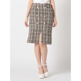 ダブルボタンツイードタイトスカート