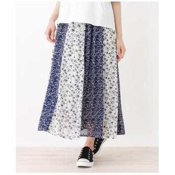 小花切り替えロングスカート