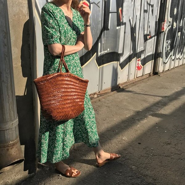 ANNAS 正韓 綠色 花花 洋裝 短袖 雪紡 碎花 小花 小雛菊 長裙 長洋裝 韓國690