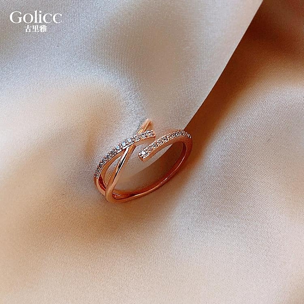 簡約冷淡風交叉戒指女時尚個性ins潮日系輕奢指環開口戒食指夸張