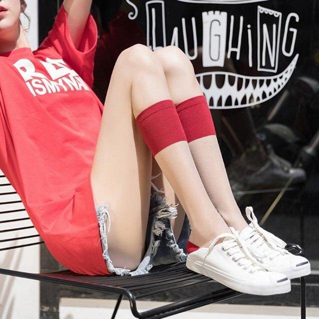 及膝襪 襪子 小腿襪子女中筒襪女潮ins日系薄款水晶絲襪可愛玻璃絲半截及膝襪『快速出貨』  秋冬新品特惠