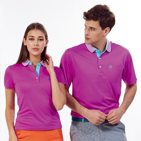Abel Fox's Sports紫色線條領男版短袖POLO衫-WER503-26
