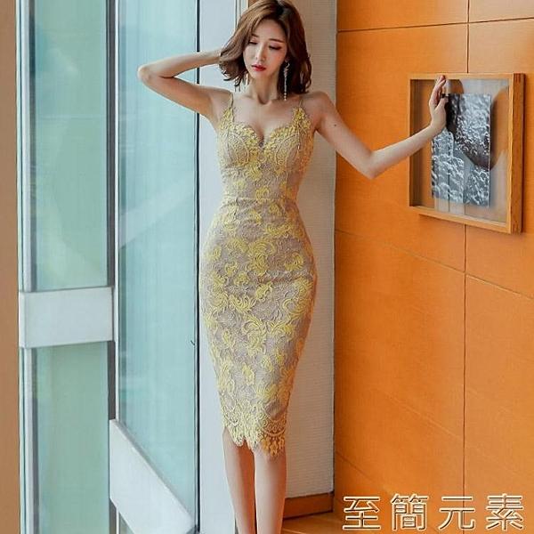蕾絲洋裝女新款夏季名媛性感V領修身時尚女神范露背吊帶裙 至簡元素