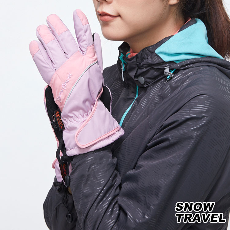 Snow Travel 英國Ski-Dri 觸控保暖手套 AR-73【粉紅】/ 城市綠洲 (防水透氣、刷毛、止滑、反光條、雪之旅)