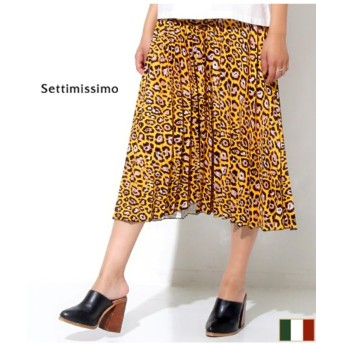 (Settimissimo/セッティミッシモ)ウエストラインレオパード柄プリーツスカート/レディース イエロー
