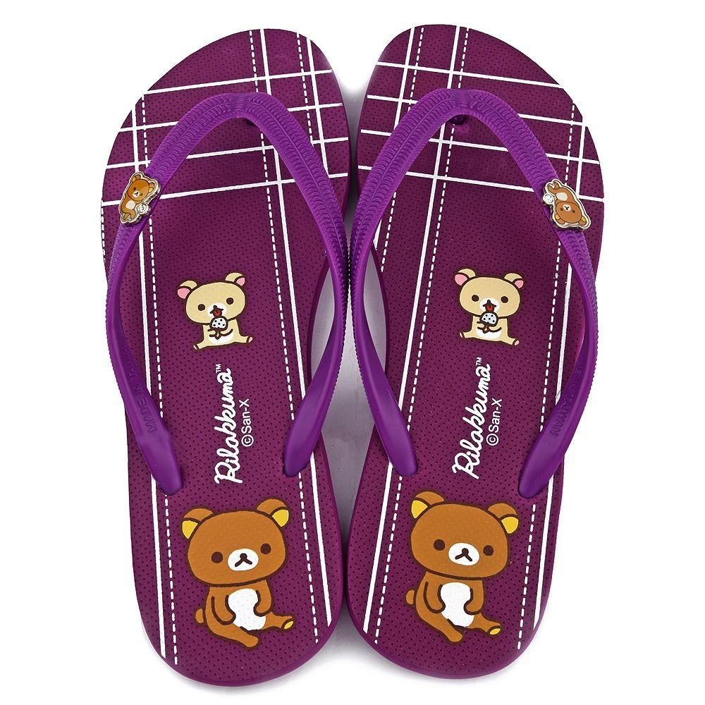 鞋子部落 拉拉熊金屬扣條紋夾腳拖 成人款 km26175 藍/紫(共二色)