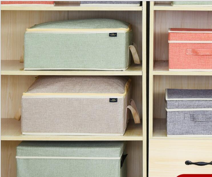 日系拉鍊式棉麻收納箱-4色選