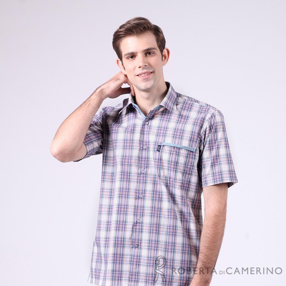 ROBERTA諾貝達 台灣製 陽光率性 格紋短袖襯衫 淺紫