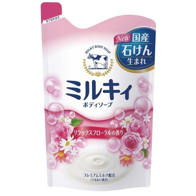 日本牛乳石鹼 牛乳精華沐浴乳 補充包-玫瑰花香 400ml (16入)/箱【康鄰超市】