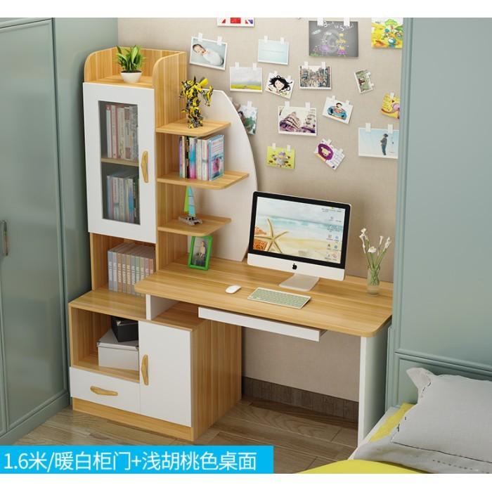 免運 台式電腦桌 現代書櫃 學生臥室家用寫字臺 書櫃組合單人簡約筆記本書桌 學生寫字桌 電腦桌 書桌