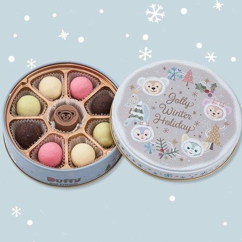 ArielWish日本東京迪士尼2019聖誕節達菲熊Duffy雪莉玫傑拉東尼史黛拉兔雪人禮物鐵盒收納盒飾品盒-售絕版空盒