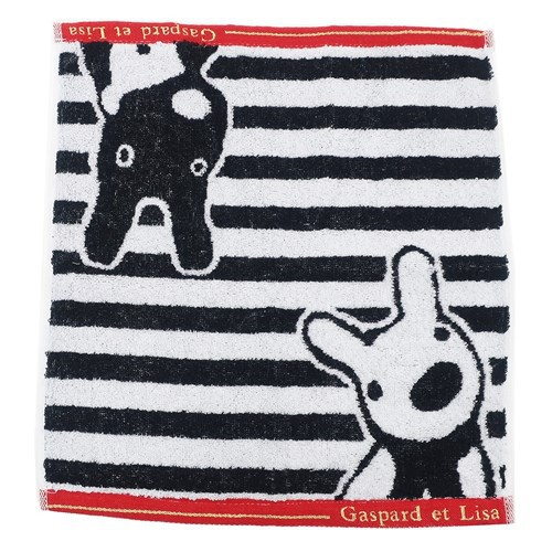 【麗莎和卡斯柏】 擦手巾/方巾-黑白條紋