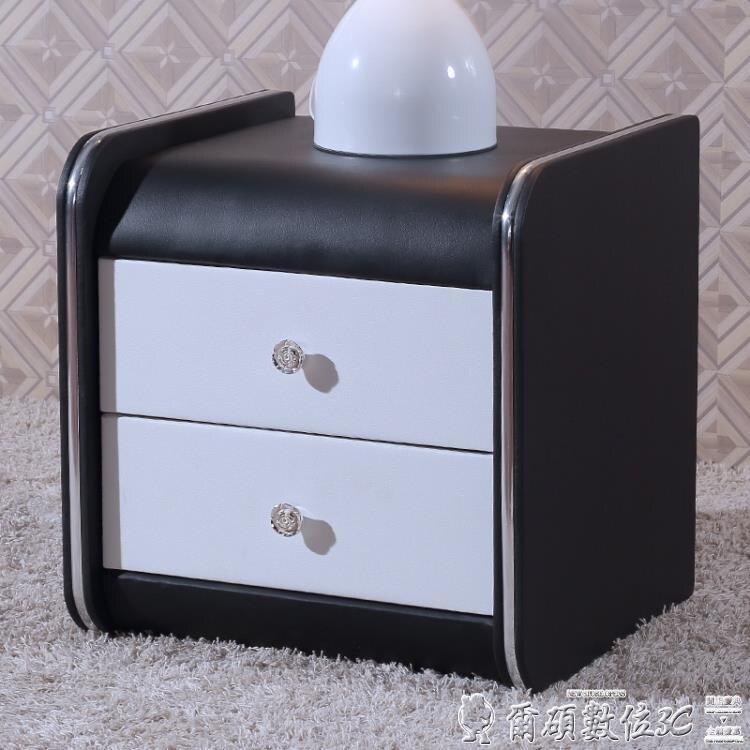 特賣床頭櫃 瑪蘭珊現代床頭櫃簡約儲物櫃整裝皮床頭櫃收納櫃歐式床邊小床頭櫃LX