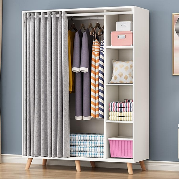 衣櫃簡約現代經濟型組裝臥布簾門實木板式櫃子兒童木質宿舍衣櫥 LX 夏洛特