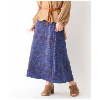 サテンフラワーAラインスカート