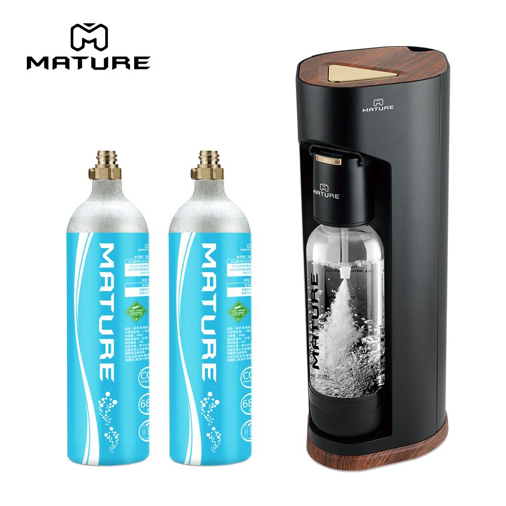 MATURE美萃 Luxury440系列氣泡水機-木質黑 680g氣瓶2入組