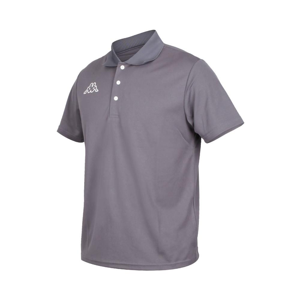 kappa 男短袖polo衫-台灣製 高爾夫 吸濕排汗 慢跑 運動 上衣 網球 羽球 灰白