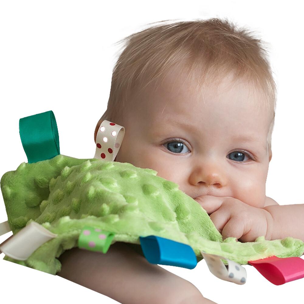 四條入嬰兒安撫巾 彩色標籤泡泡安撫口水巾-bk1006