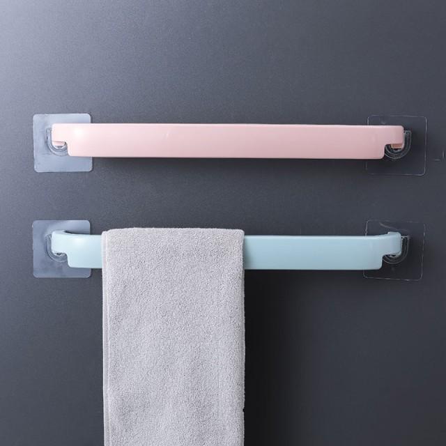 浴室多功能毛巾架 粘貼免打孔 廚房單桿抹布掛架 脫鞋架 (顏色隨機出貨)