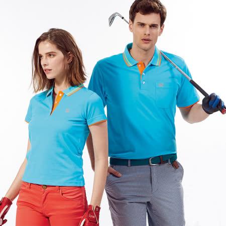 Abel Fox's Sports藍色橘邊男版短袖POLO衫-AFQ104-05