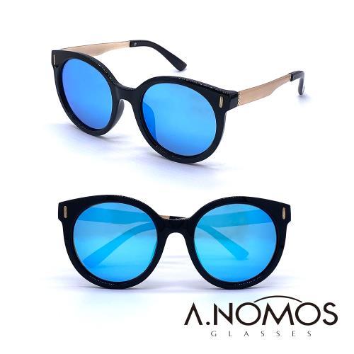 A.NOMOS 萊夫卡斯的天際 時尚貓眼偏光太陽眼鏡 6227 亮黑藍水銀片
