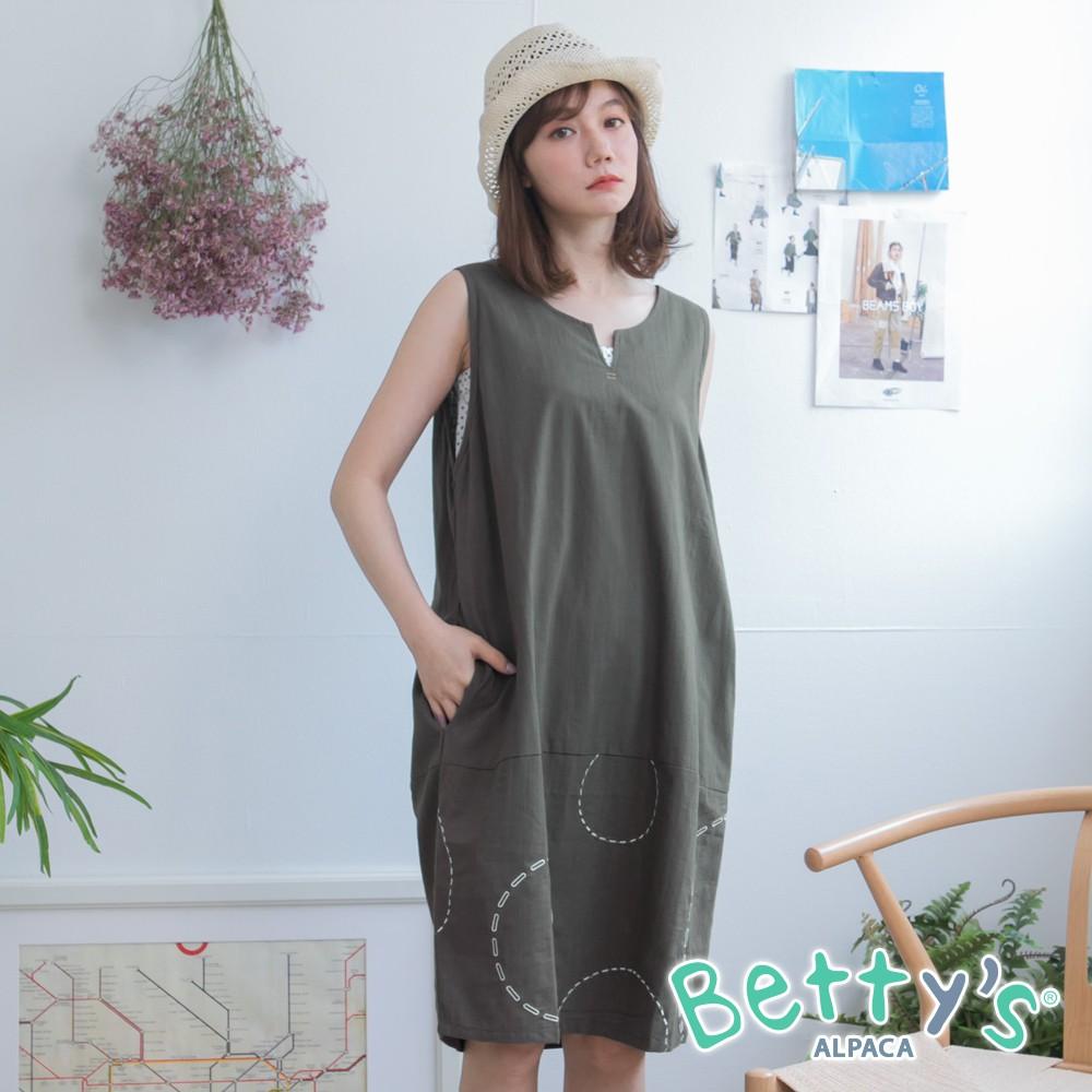 betty's貝蒂思 無袖圓V領繡線洋裝(深綠)