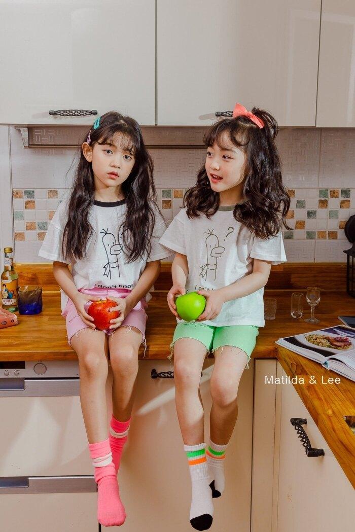 正韓/夏日滾邊可愛童T(現貨+預購) 女童上衣 T恤 短袖 2色可選